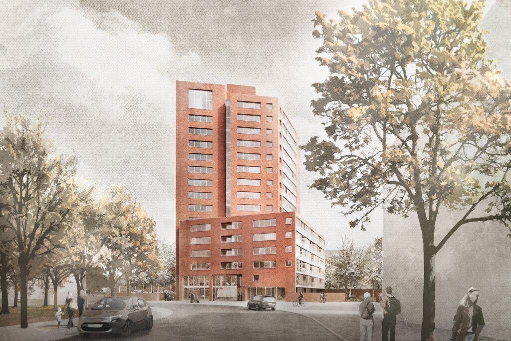Nürnberg Modellquartier mit Wohnhochhaus 2021